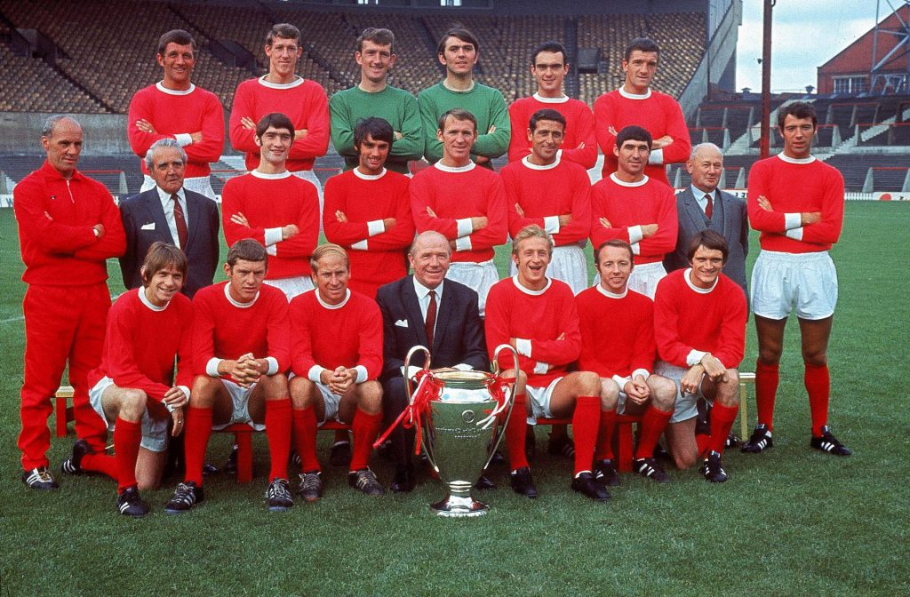 Matt Busby and the Manchester United team that won the 1968 European Cup