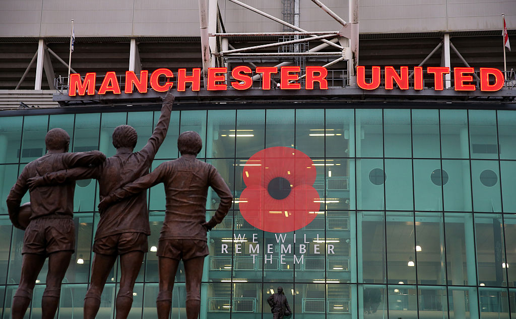 "Old Trafford poppy display ""we will remember them"""