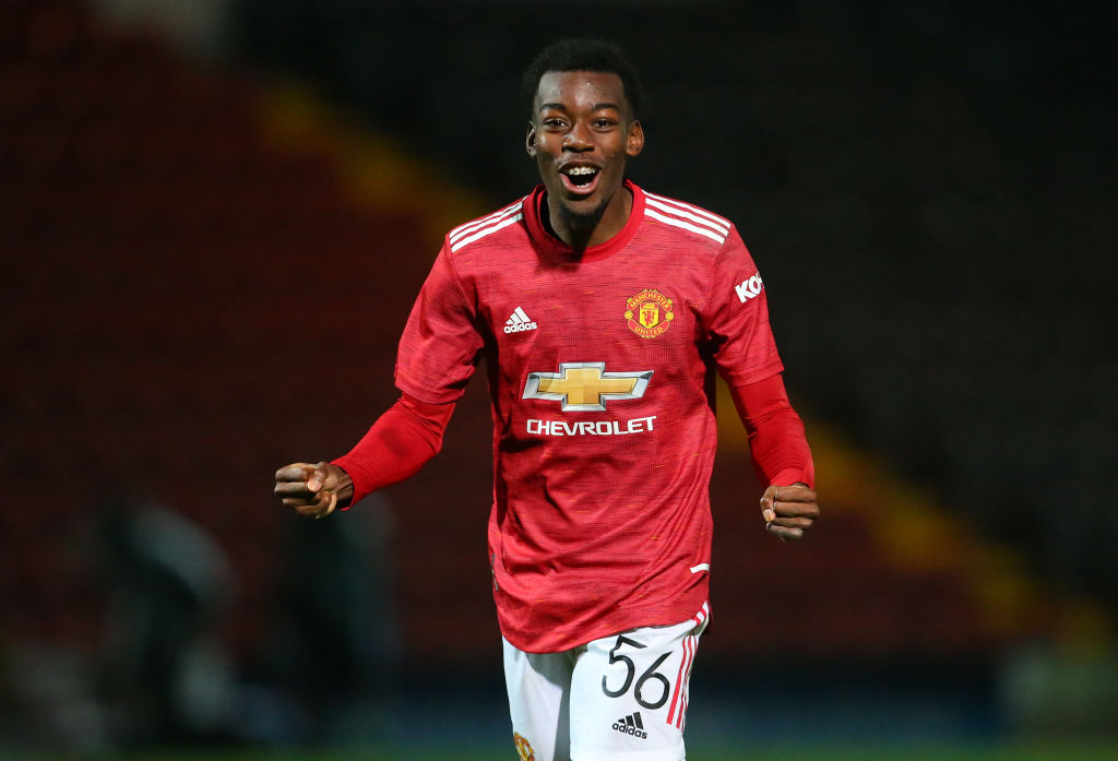 ROCHDALE, ENGLAND - SEPTEMBER 29:    Anthony Elanga of Manchester United U21 celebrates after victory in the penalty shoot out during the EFL Trophy match between Rochdale and Manchester United U21 at Crown Oil Arena on September 29, 2020 in Rochdale, England.